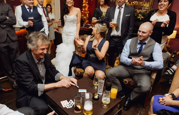 Sleight of hand entertainment at De Courceys near Cardiff